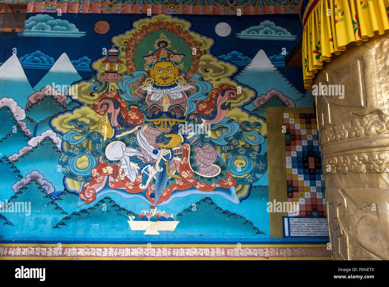 Wall painting at Punakha temple (Dzong) Buthan - Stock Image