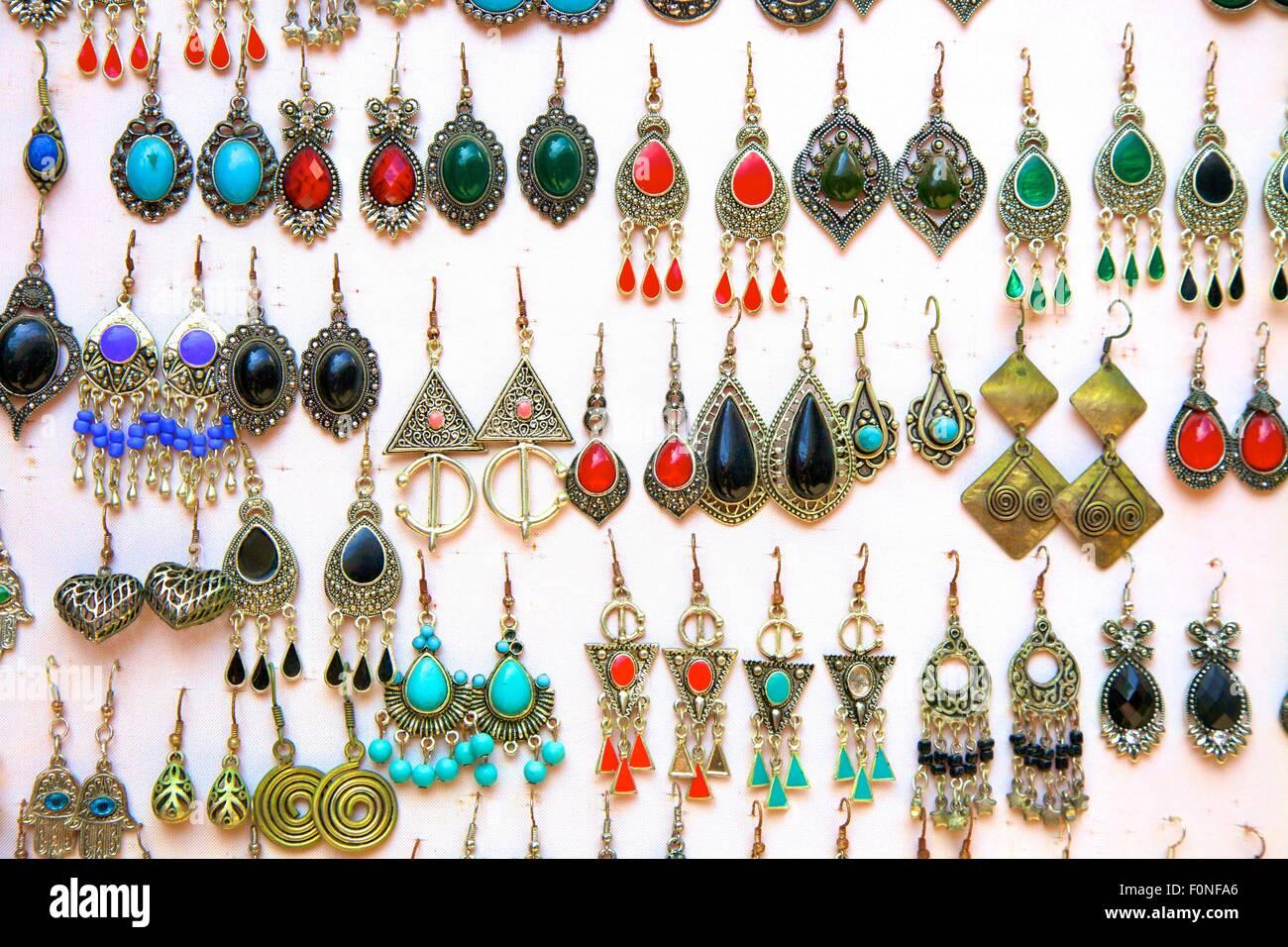 Jewellery Display, The Medina, Rabat, Morocco, North Africa - Stock Image