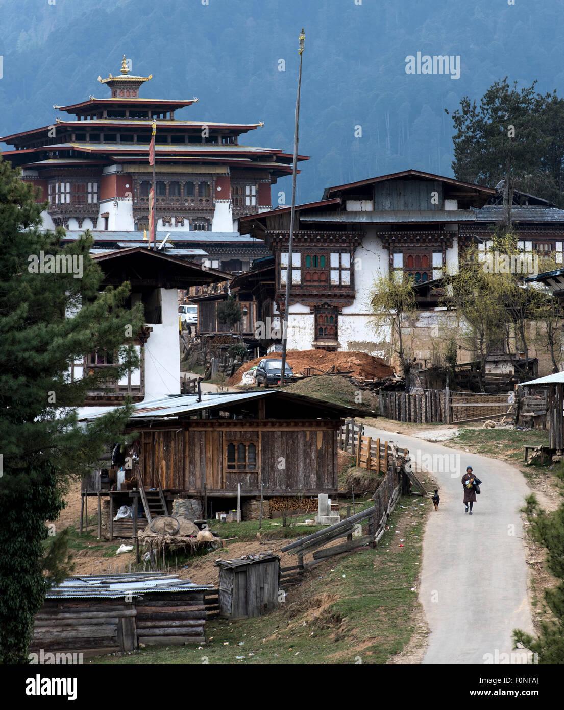 View of Gangtey monastery Bhutan - Stock Image