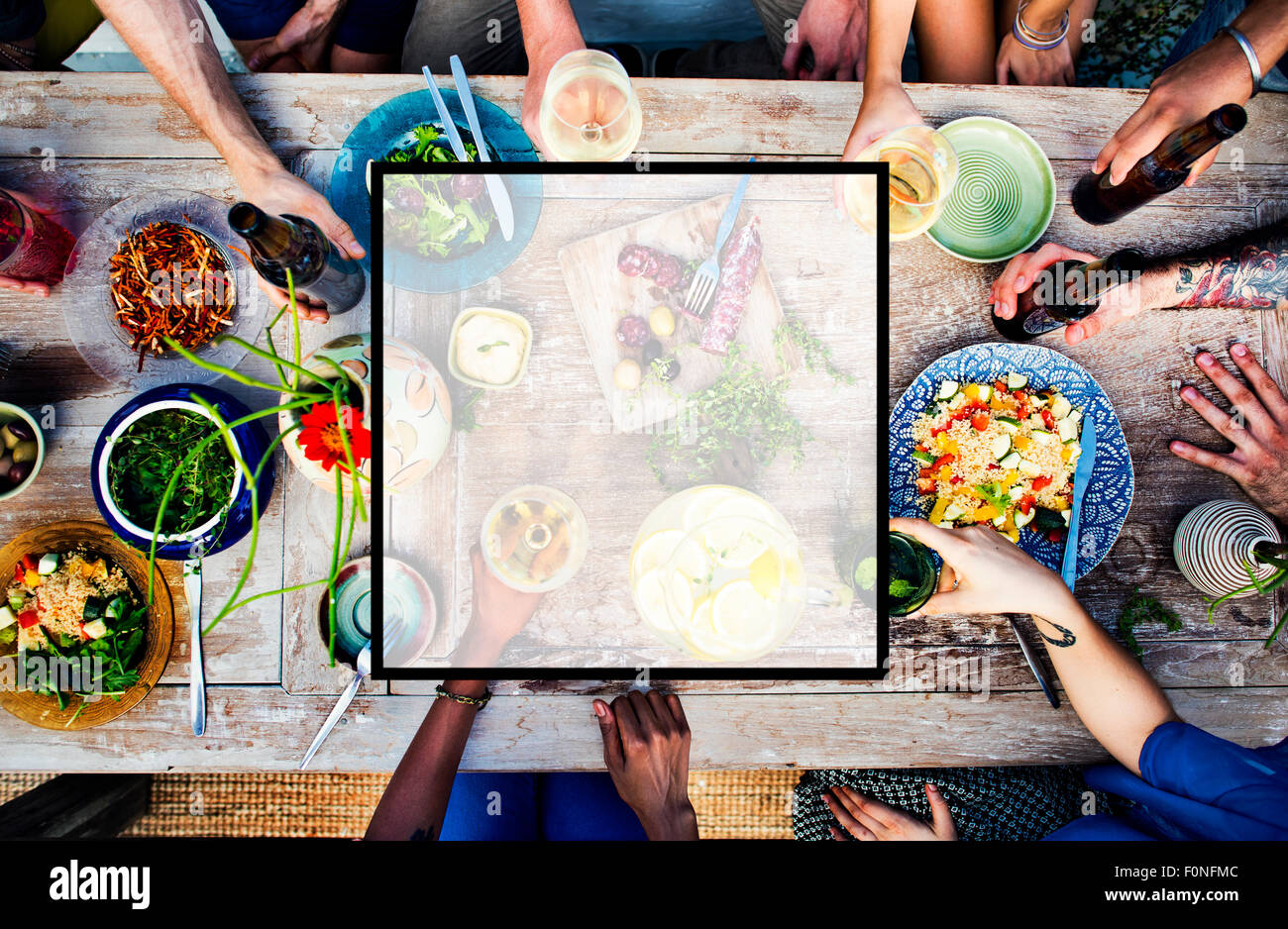 Summer Togetherness Friendship Square Copy Space Concept - Stock Image