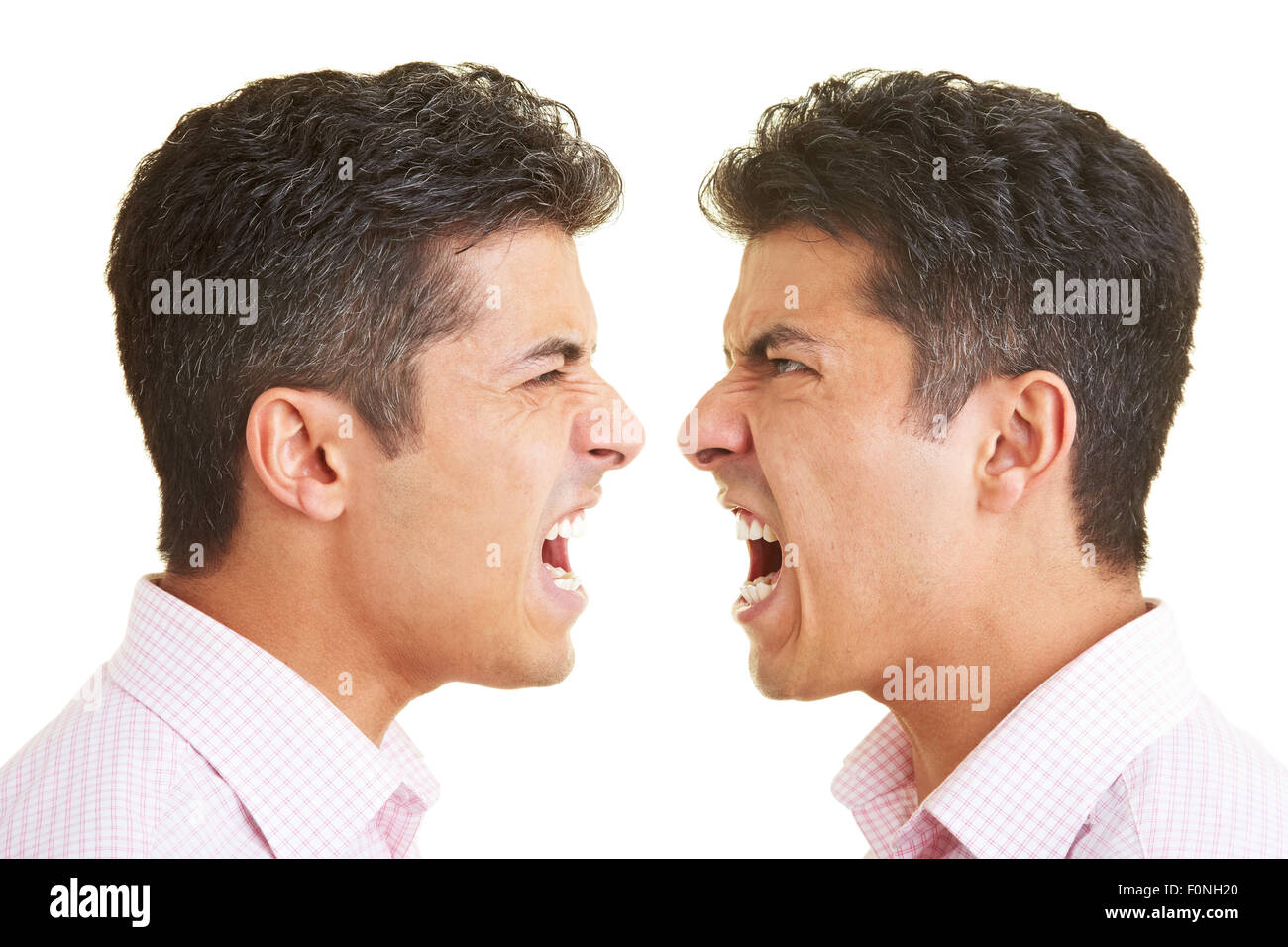 Twins Shouting At Each Other Stock Photo 86526216 Alamy
