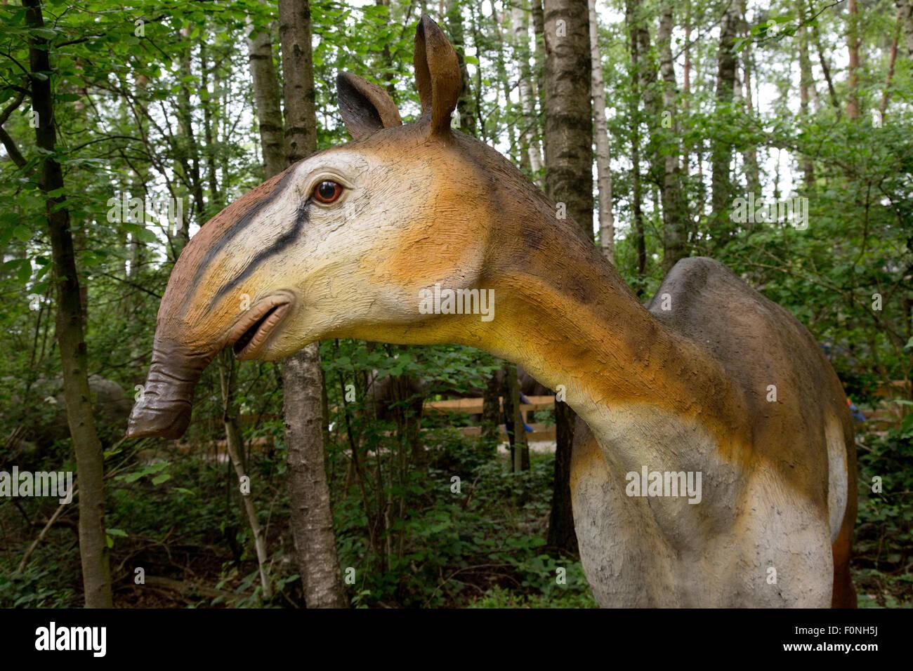 Macrauchenia long-necked extinct three-toed South American ungulate mammal Dinosaurier Park Germany - Stock Image