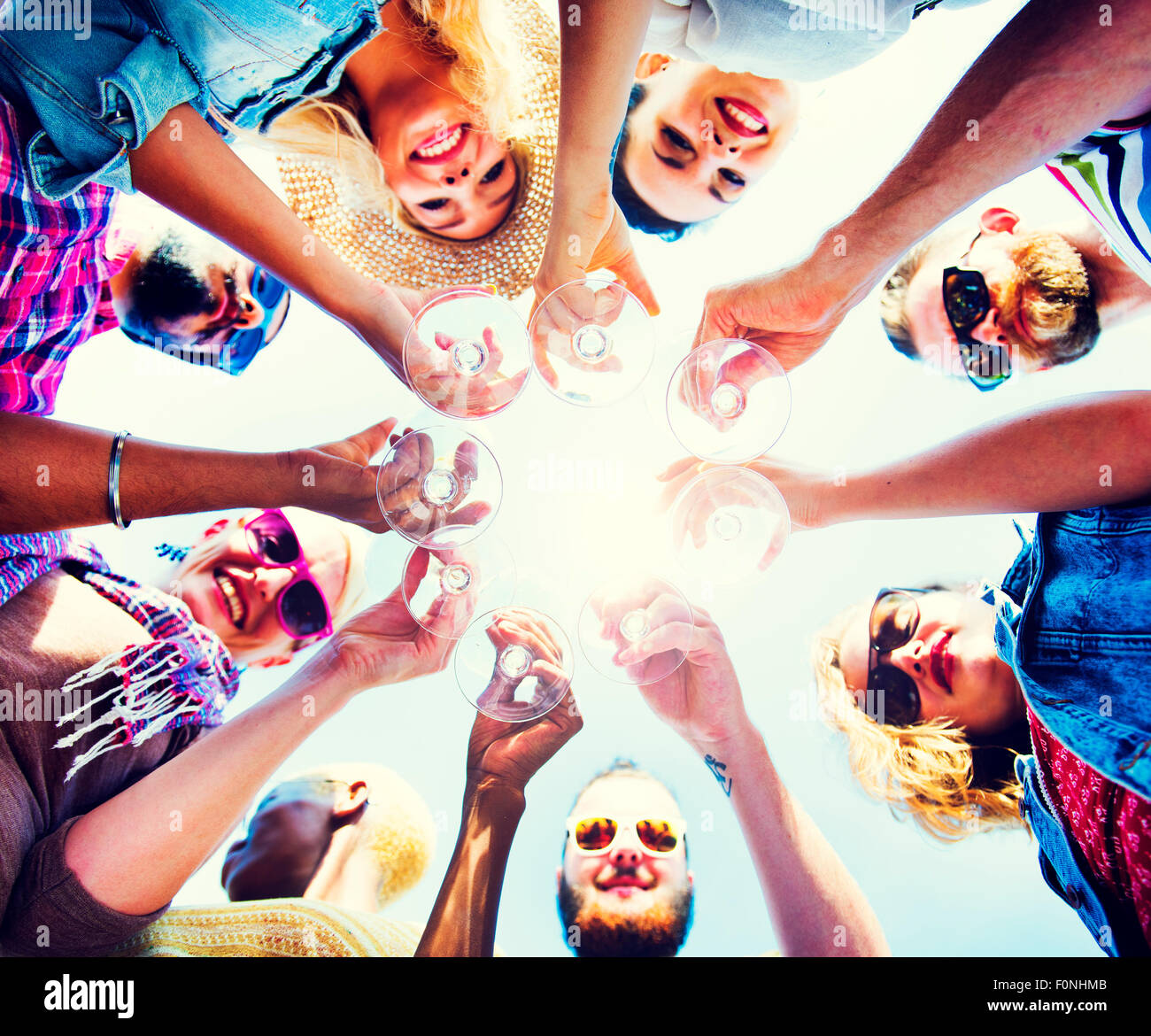 Celebration Champagne Looking Down Friends Concept - Stock Image