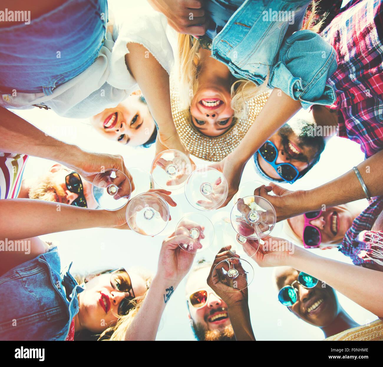 Beach Cheers Celebration Friendship Summer Fun Concept - Stock Image
