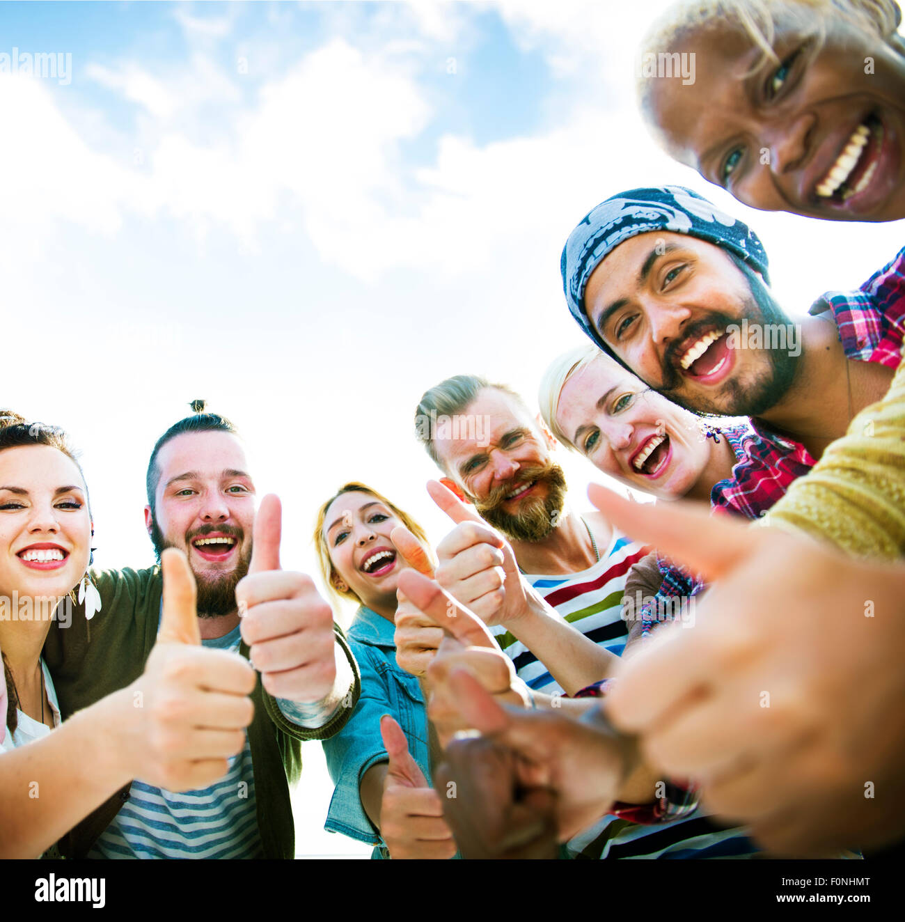Friends Friendship Like Thumbs up Togetherness Fun Concept - Stock Image