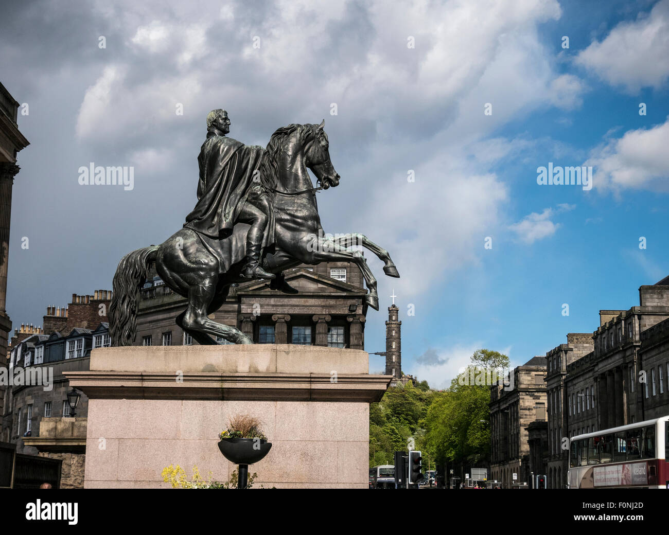 Duke of Wellington Memorial Statue Princes Street Edinburgh UK - Stock Image