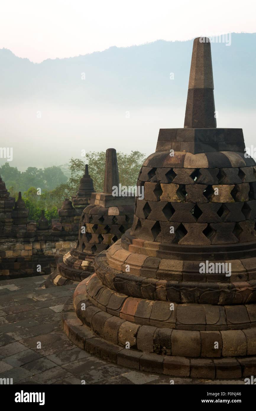 Stupa's at the Borobudur on Java, Indonesia Stock Photo