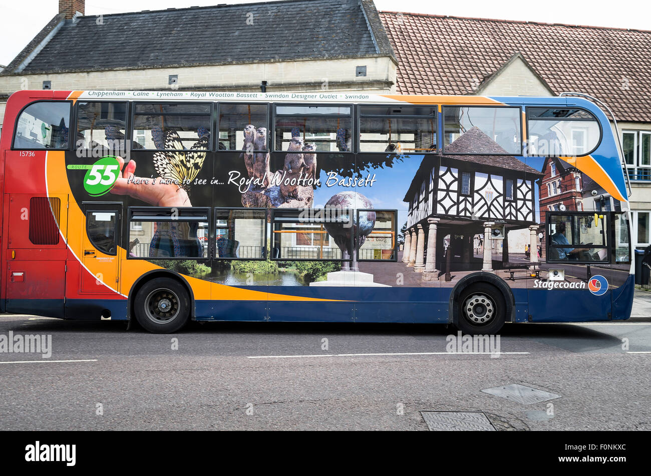 Stagecoach bus bearing pictorial illustrations of towns served on Route 55 - Stock Image