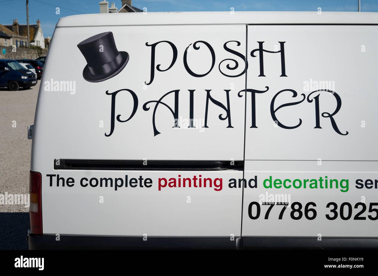 Trade van bearing trader's title POSH PAINTER in UK - Stock Image