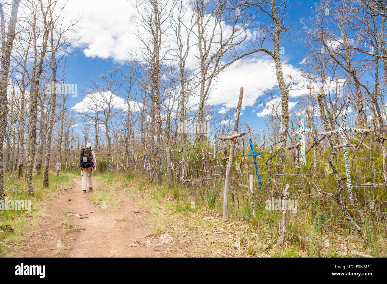 Way of St. James near El Ganso village, Leon, Spain - Stock Image