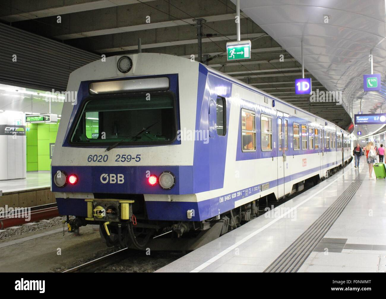 Obb electric multiple unit (emu) train at a platform in Vienna Airport station - Stock Image
