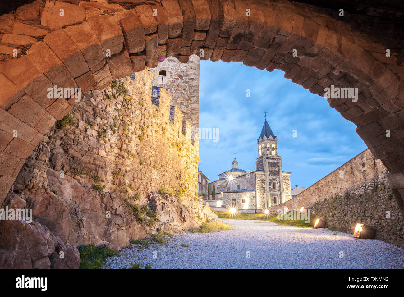 View of San Andres church from Los Templarios Castle in Ponferrada, Way of St. James, Leon, Spain - Stock Image