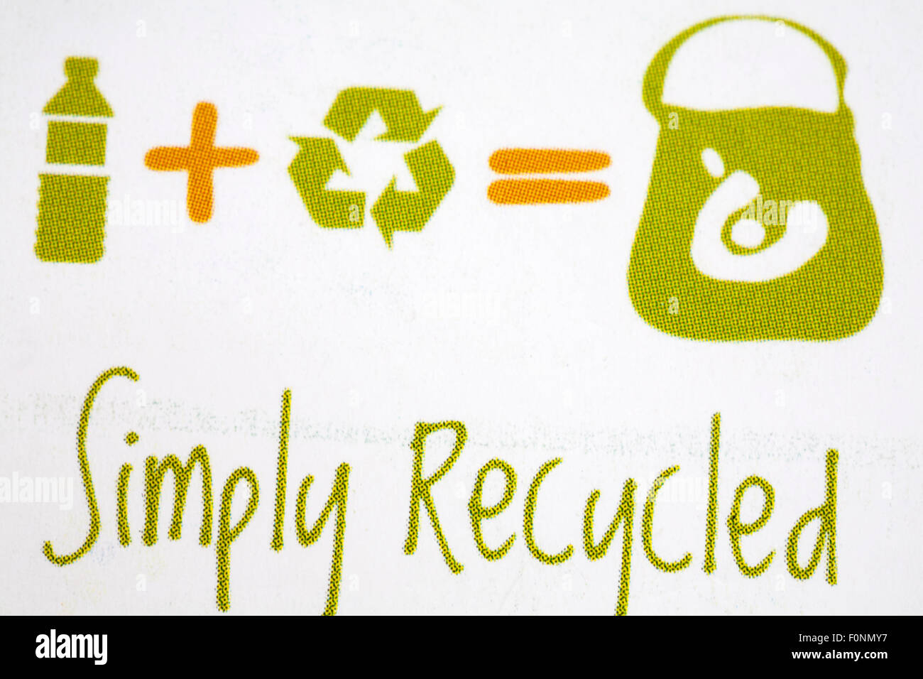 simply recycled symbols on label of Onya simply recycled bag - made from rPET Recycled Plastic Bottles - Stock Image