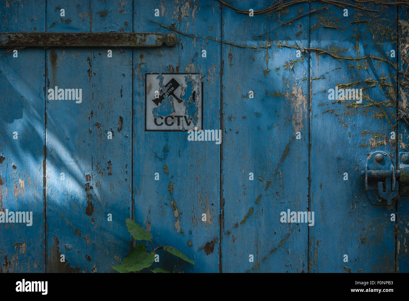 CCTV warning sign pictogram on faded old door. Stock Photo