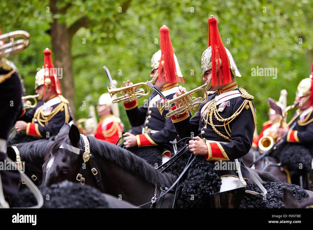 The Household Cavalry rehearse for the annual trooping of the colour on Horse Guards Parade. Stock Photo