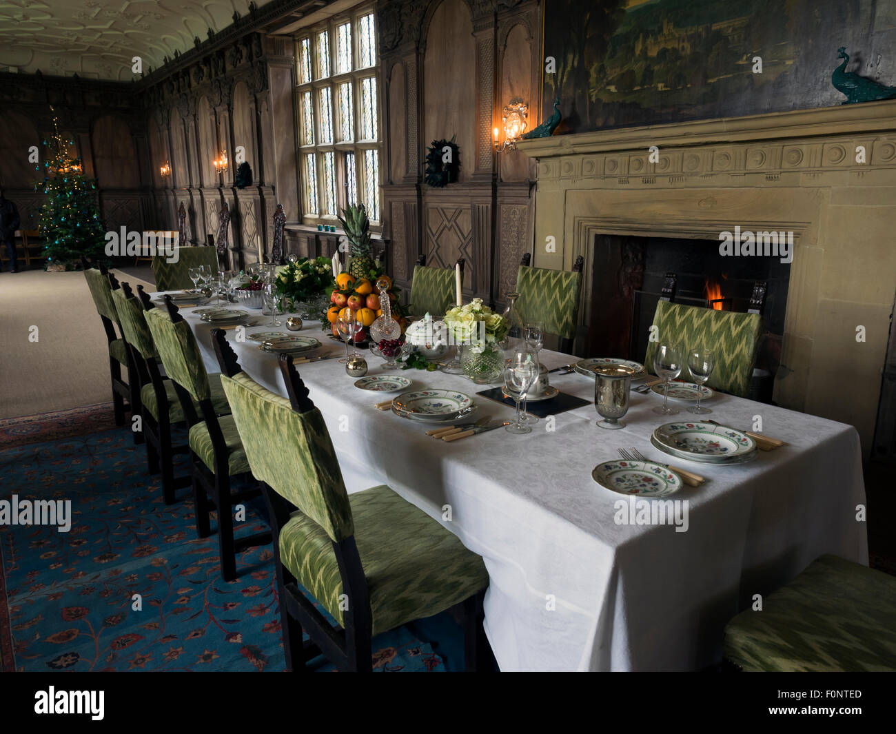Tudor Christmas in Haddon Hall in Derbyshire Peak District England - Stock Image