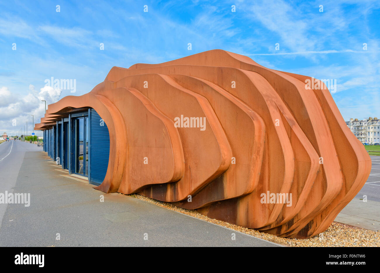 East Beach Cafe on the Promenade in Summer in Littlehampton, West Sussex, England UK. Designed by Thomas Heatherwick - Stock Image