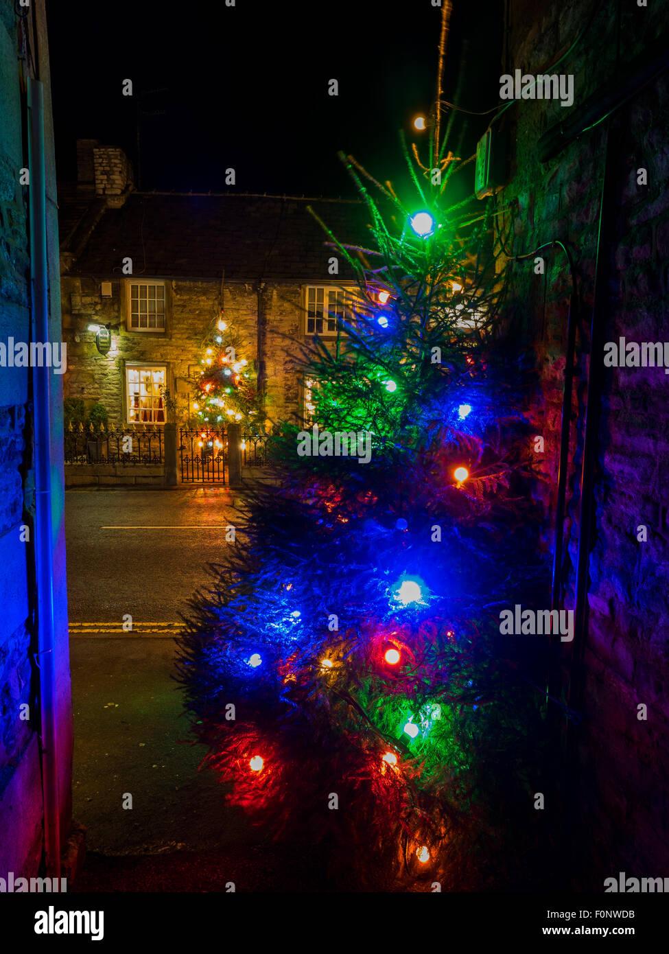 Christmas illuminations in the Peak District village of Castleton Derbyshire England Stock Photo
