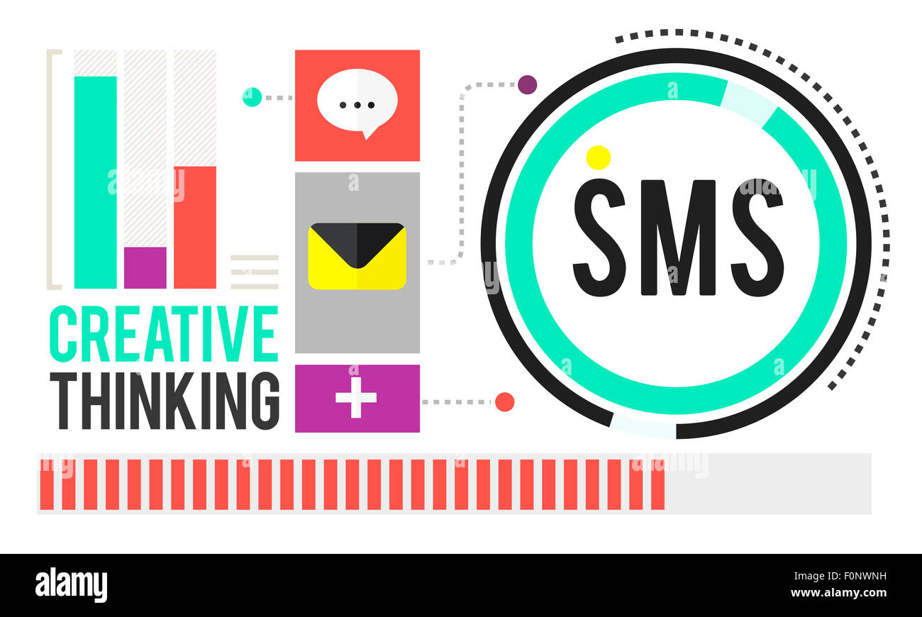 Sms Digital Messaging Communication Technology Concept - Stock Image