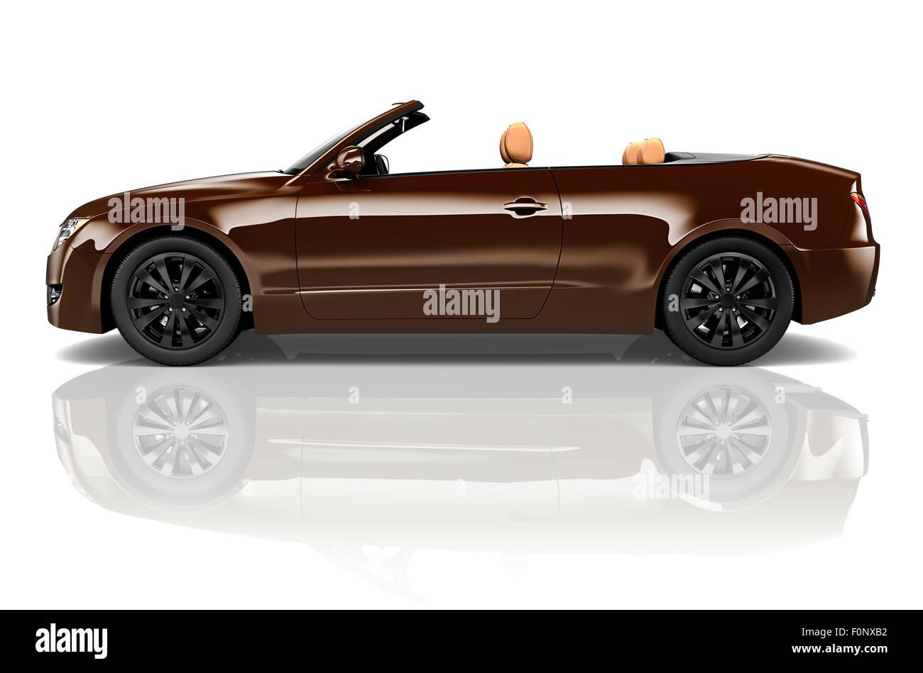 Car Convertible Transportation 3D Illustration Concept - Stock Image