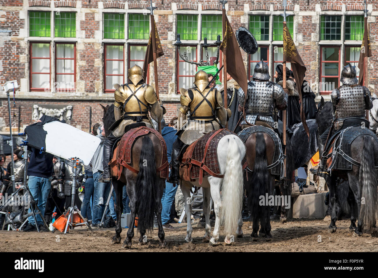 Ghent, Belgium. 19th August, 2015. Actor Adrien Brody in the role of Charles the Fifth on filmset in Ghent, Belgium - Stock Image