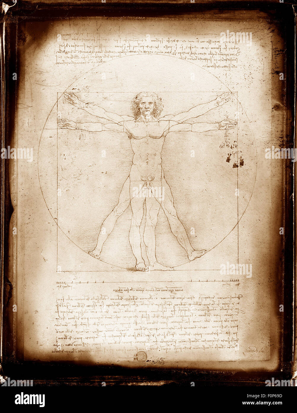 Vitruvian man composite with grunge frame photography effect - Stock Image