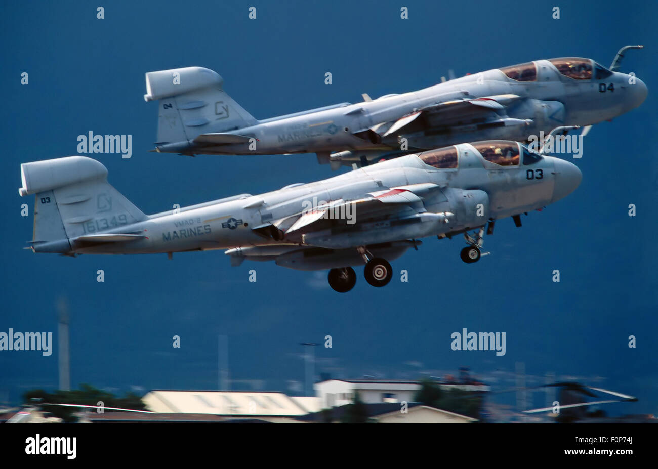 Two A 6 Prowler for electronic surveillance of US Marines take-off from the US air base of Aviano (Pordenone, Italy) - Stock Image