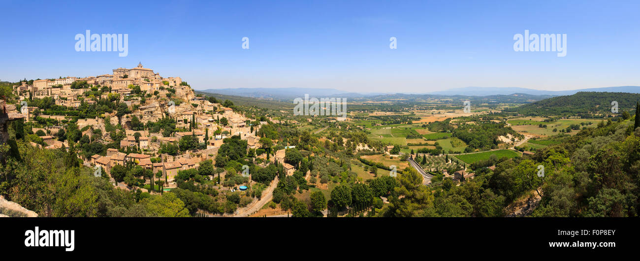 Extreme panorama of Gourdes and the countryside in Provence - Stock Image
