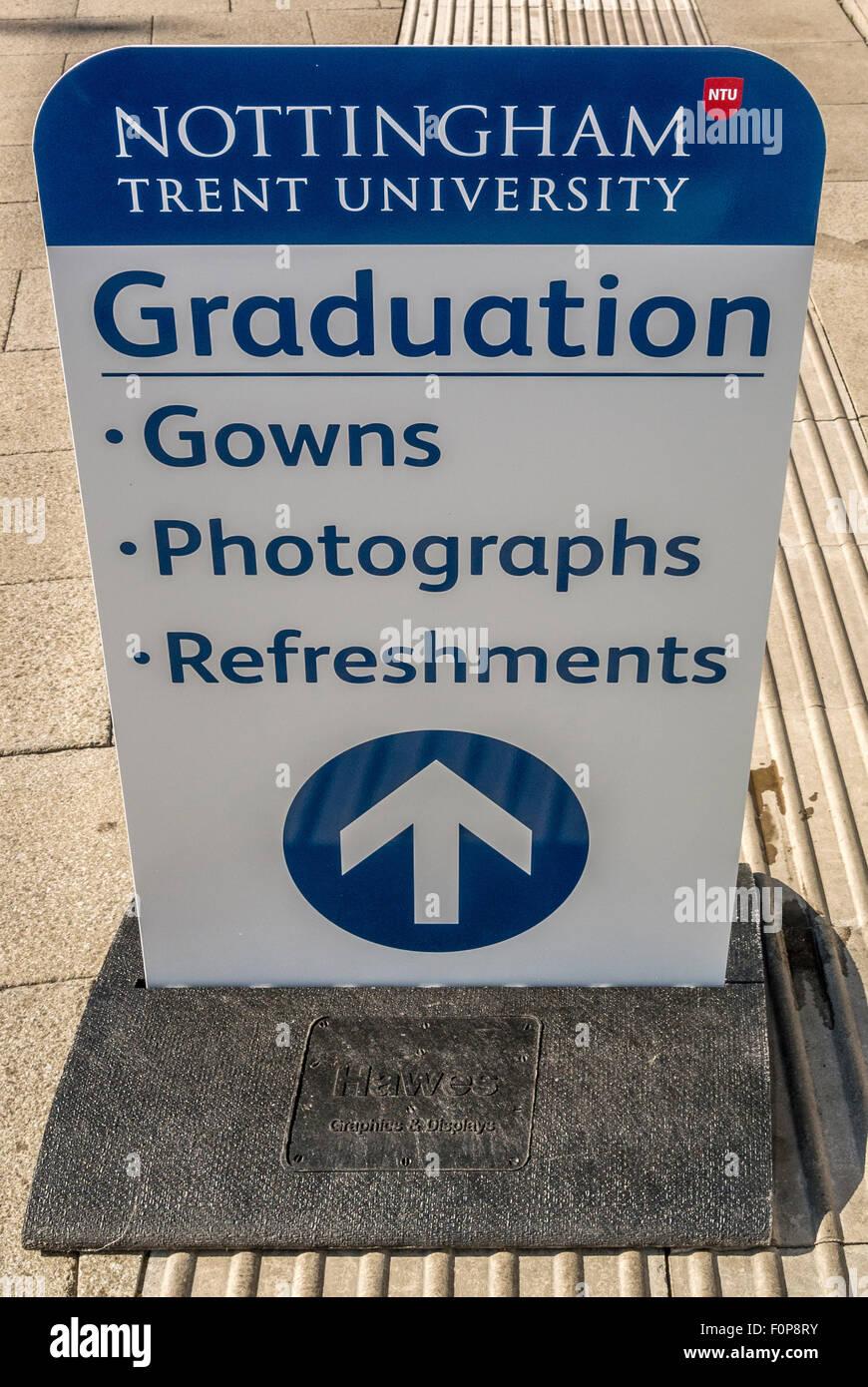 Graduation day sign at Nottingham Trent University - Stock Image