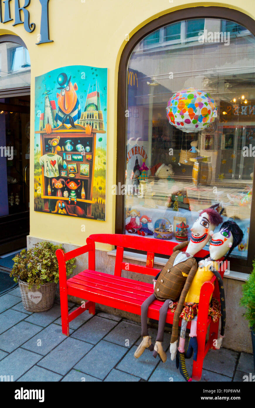 Shop exterior with the dolls in front of many shops around Old town, Bratislava, Slovakia, Europe - Stock Image