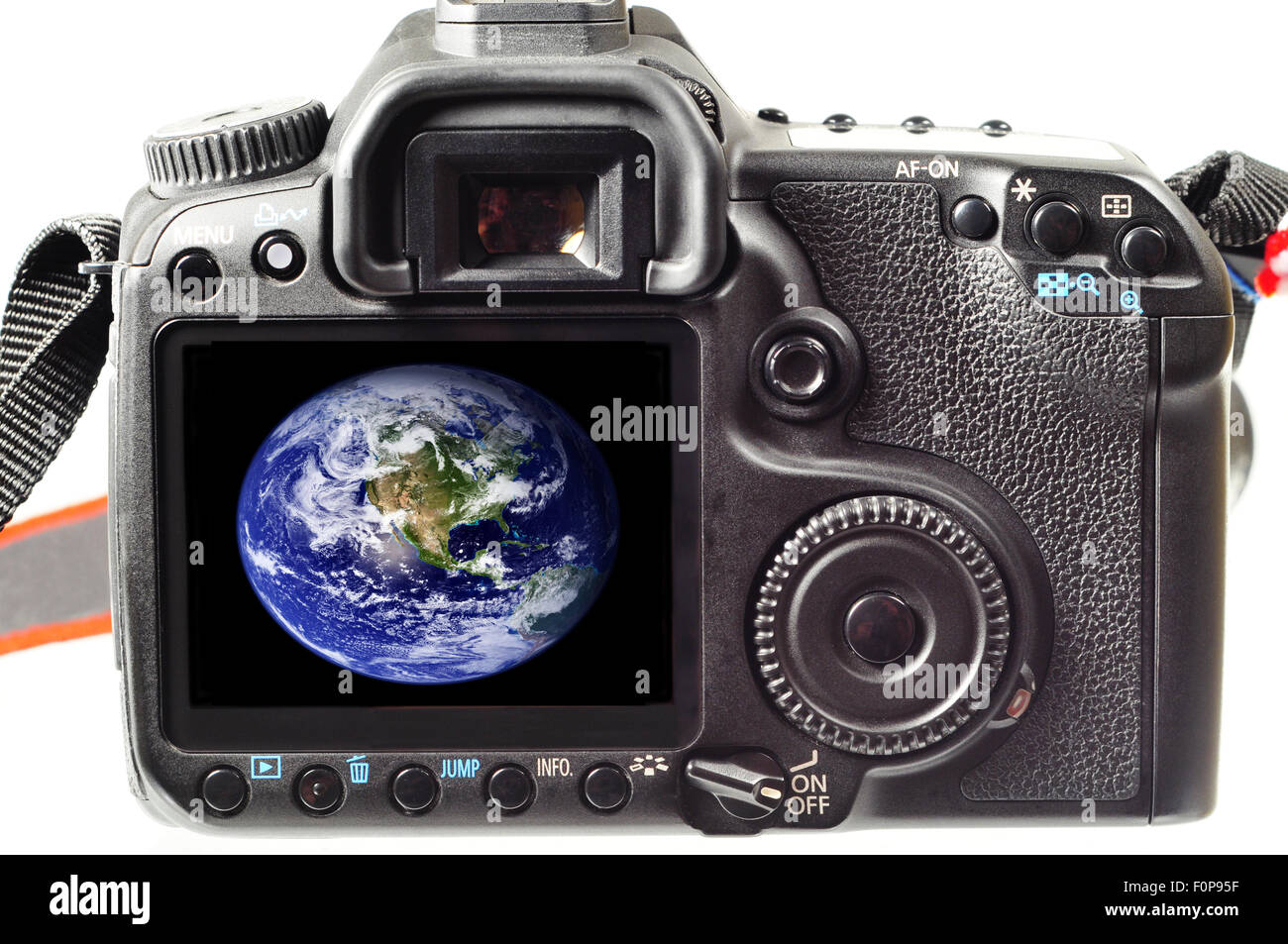 Back of a digital slr camera with the world photo in its display - Stock Image