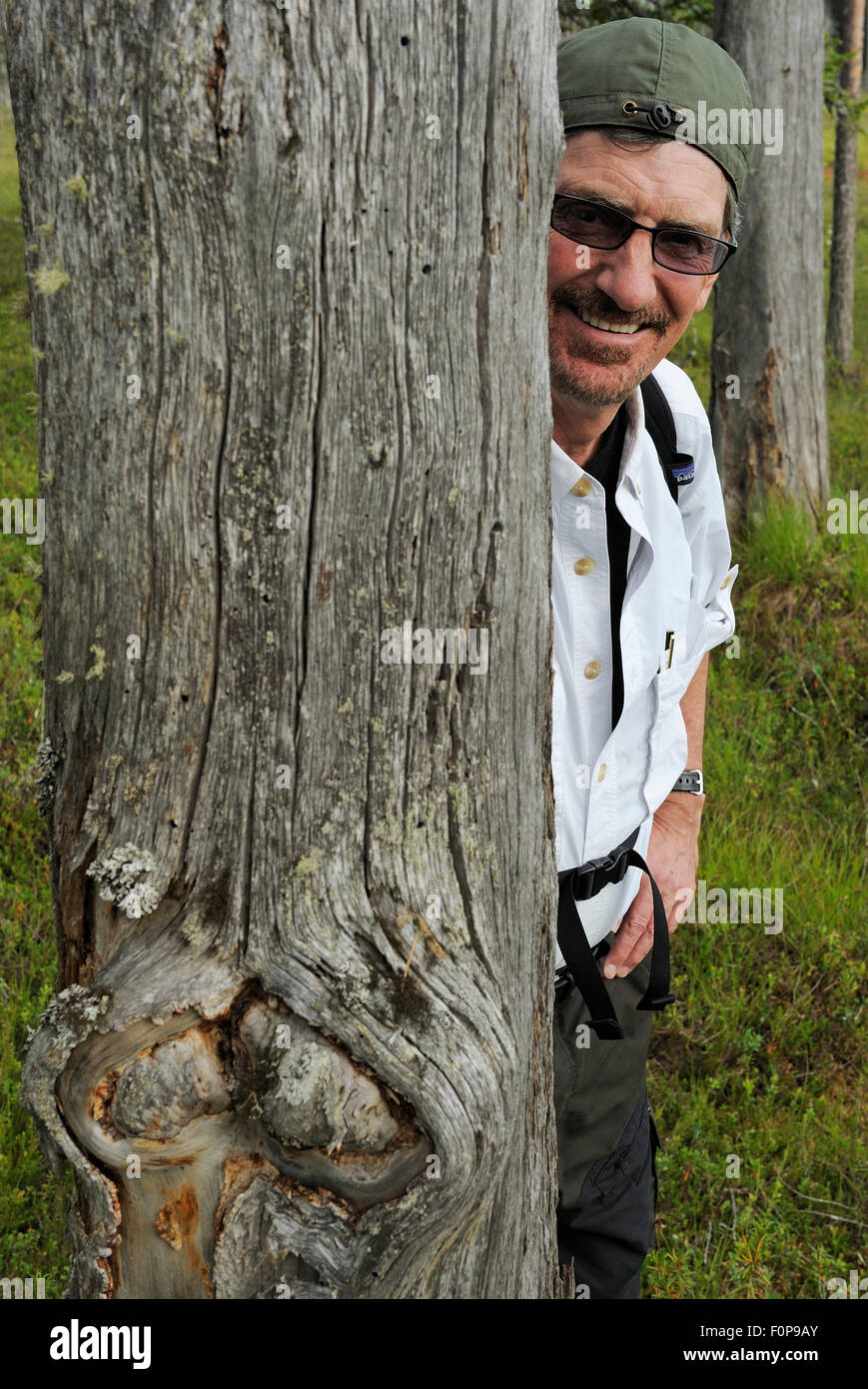 National Geographic reporter, Don Belt, on a bear watching trip in Kuhmo, Finland, July 2009 - Stock Image
