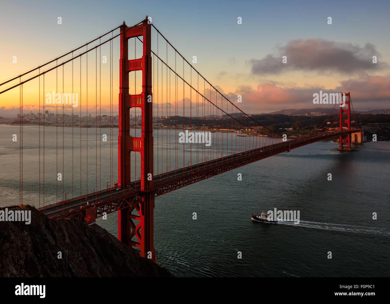 Golden Gate Bridge early morning at sunrise in San Francisco, California Stock Photo
