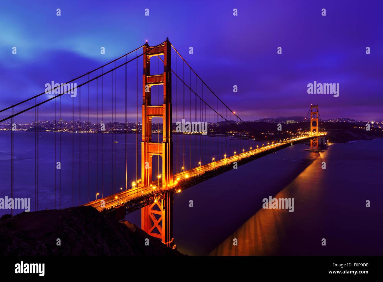 Blue night at Golden Gate Bridge, San Francisco - Stock Image