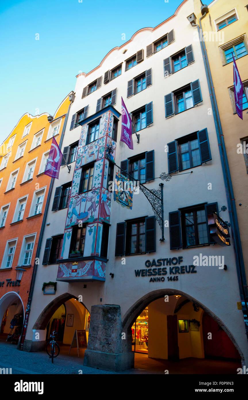 Wein Haus (1465), Wine House, housing restaurant and hotel, Herzog-Friedrich-Strasse, Altstadt, old town, Innsbruck, - Stock Image