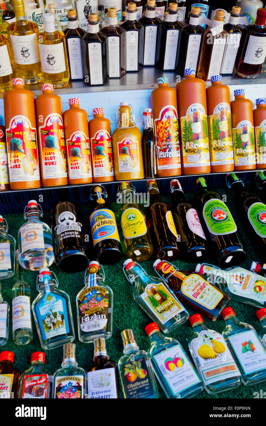 Spirits, hard liquor, Viktualienmarkt, main market, Altstadt, old town, Munich, Bavaria, Germany - Stock Image