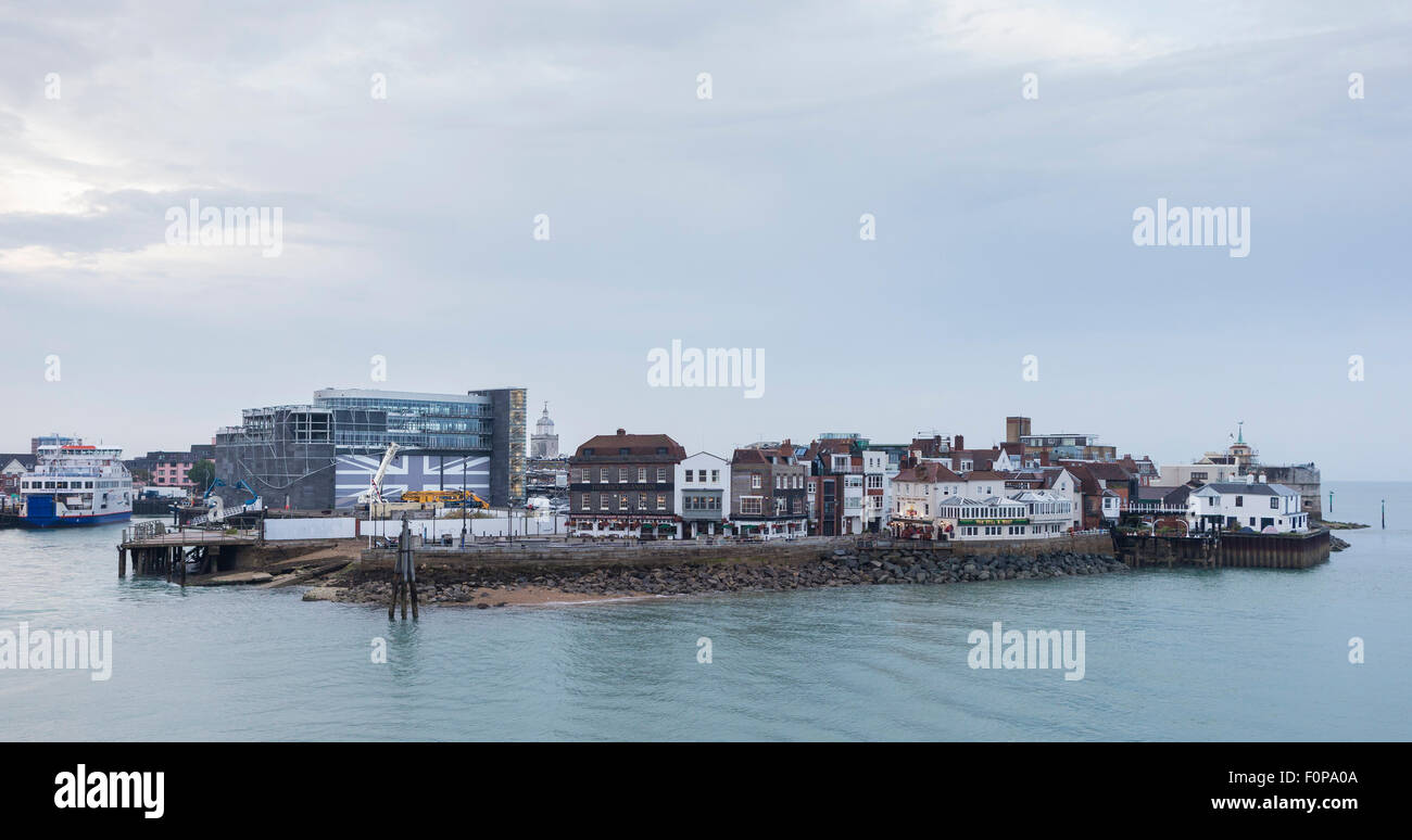 The HQ of Land Rover BAR (left) in Old Portsmouth, Hampshire from where Sir Ben Ainslie and his team will plan winning Stock Photo