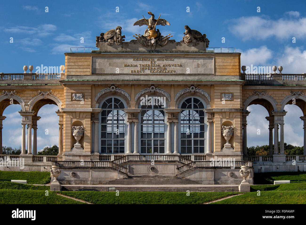 Gloriette building in the palace gardens Schloss Schoenbrunn palace, UNESCO World Heritage Site, Vienna, Austria, Europe Stock Photo
