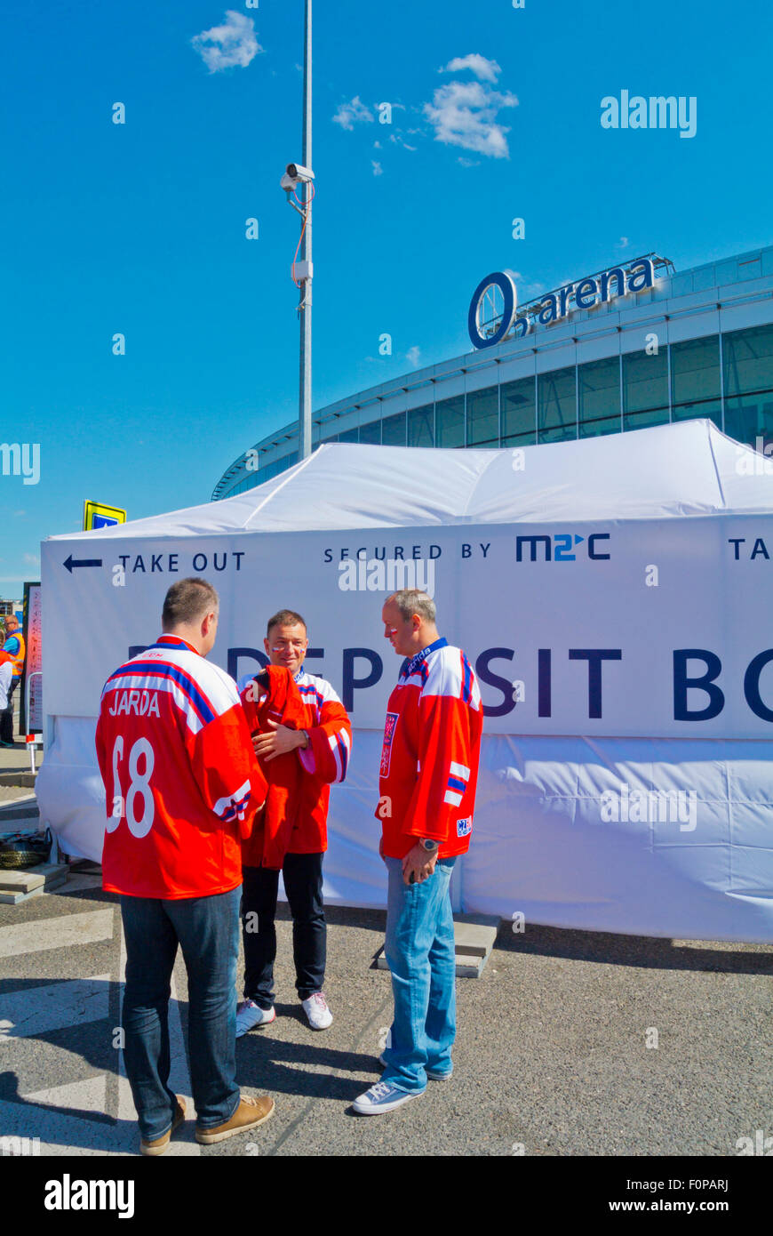 Fans outside O2 arena, during 2015 Ice Hockey World Championships, Ceskomoravska, Prague, Czech Republic, Europe - Stock Image