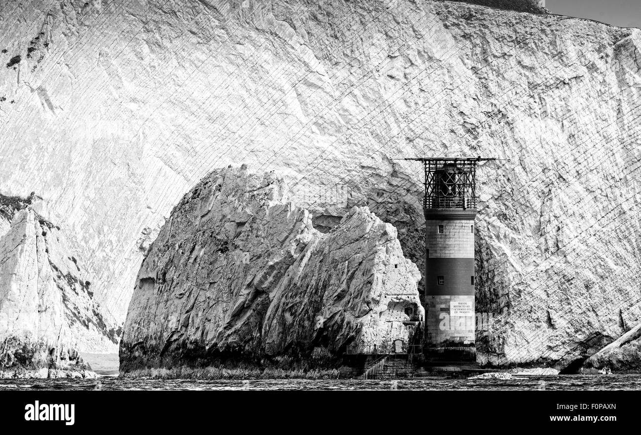 The Needles rocks and lighthouse on the Isle of Wight. Picture date: Sunday August 16, 2015. Photograph by Christopher - Stock Image