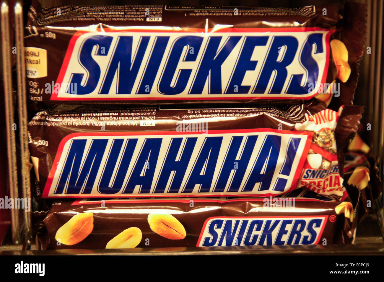 Snickers candy bars and Special Edition Muahaha! - Stock Image