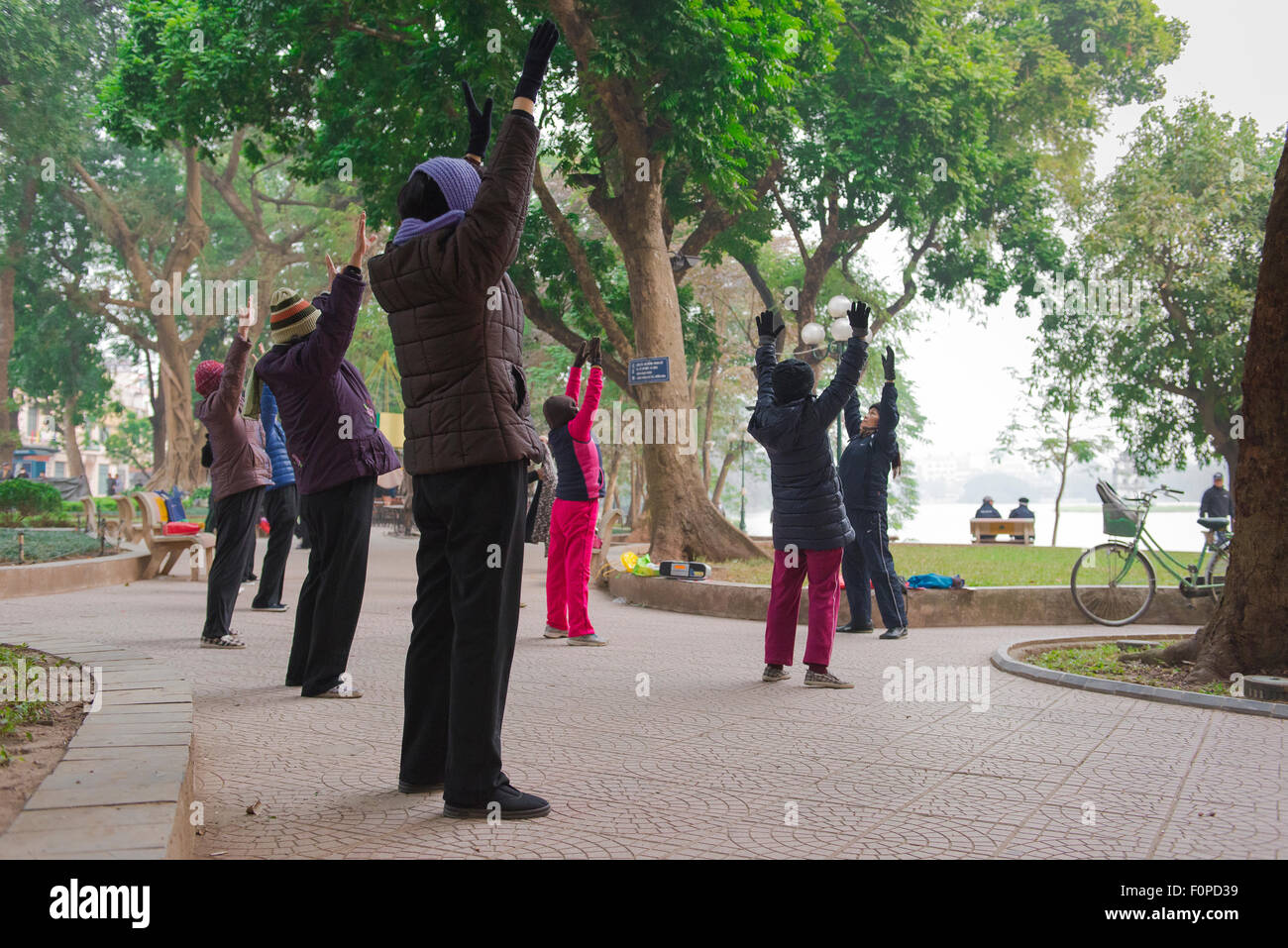 Tai chi park asia, middle aged women participate in an early morning tai chi session in Hanoi, Vietnam. - Stock Image