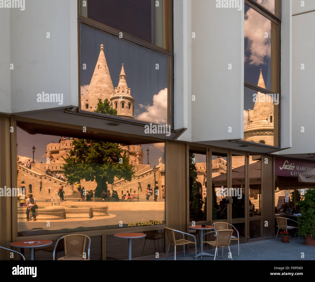 Reflections of the Fishermens Bastion, Budapest, Hungary - Stock Image