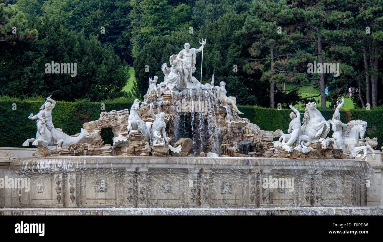 Neptune Fountain in Schoenbrunner Park, Schoenbrunn Palace Park, Vienna, Austria, Europe - Stock Image