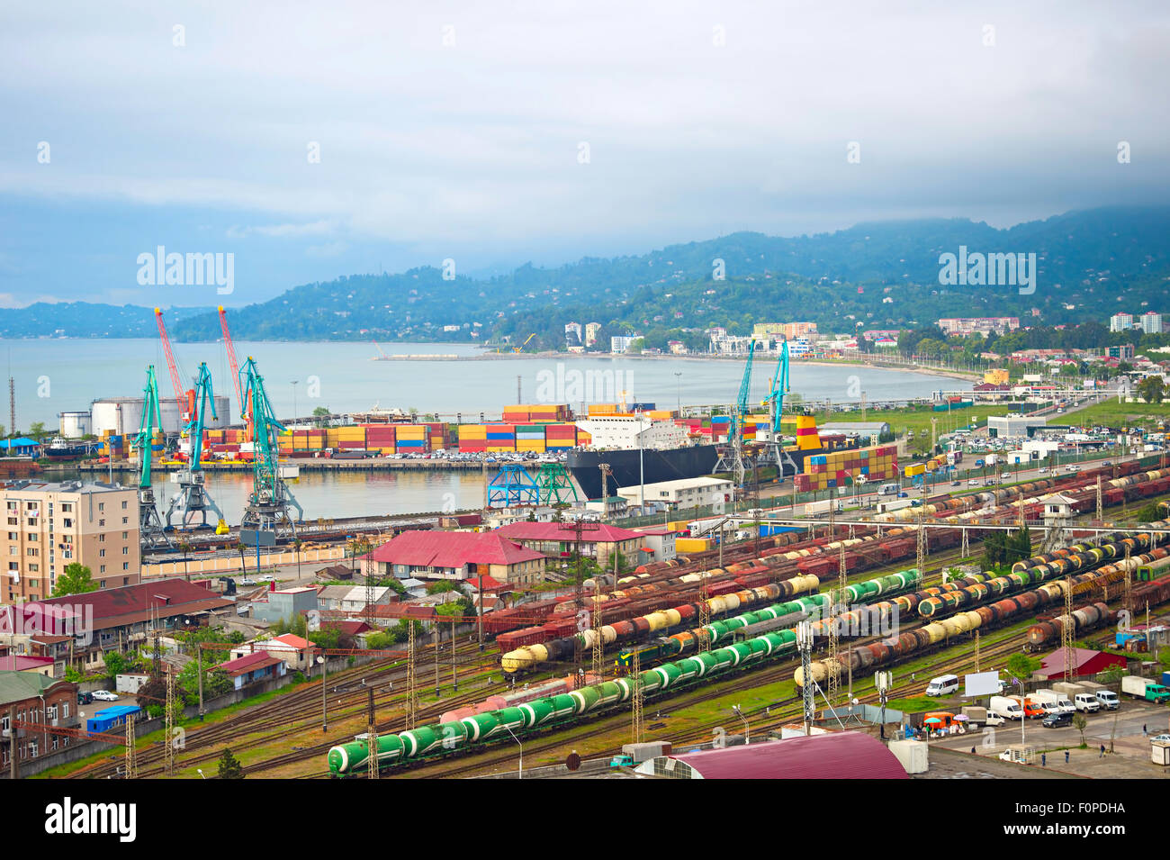Overview of Batumi industrial sea port. Georgia Republic - Stock Image