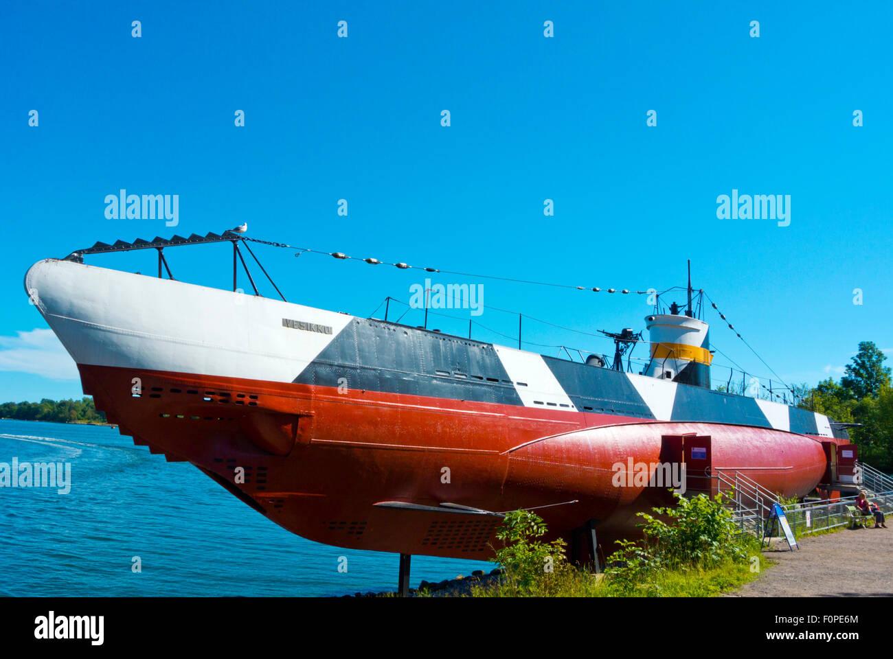Vesikko, submarine, part of the Maritime museum, Suomenlinna, Sveaborg, fortress island, Helsinki, Finland - Stock Image