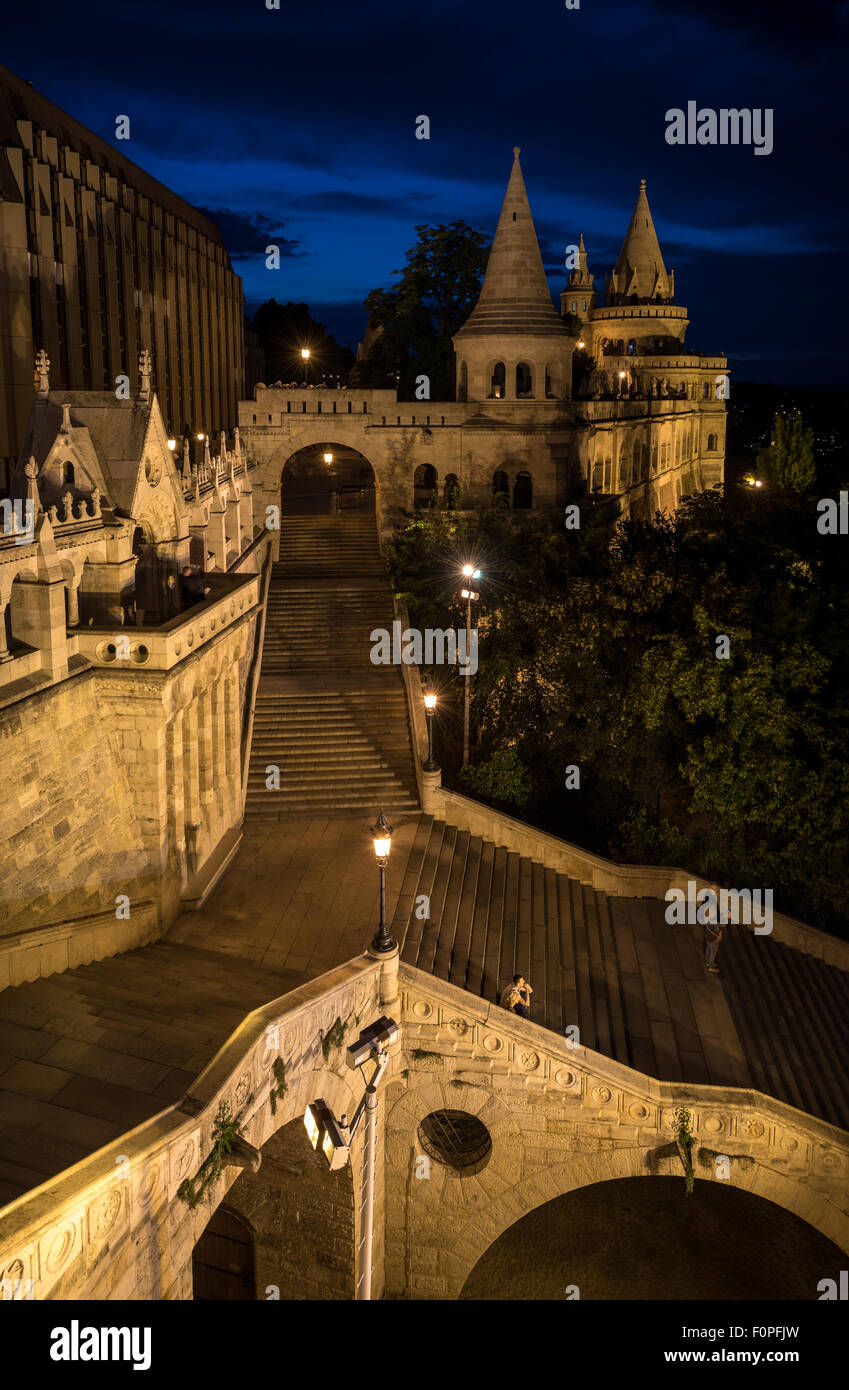 Fishermen's Bastion at night, Budapest, Hungary - Stock Image