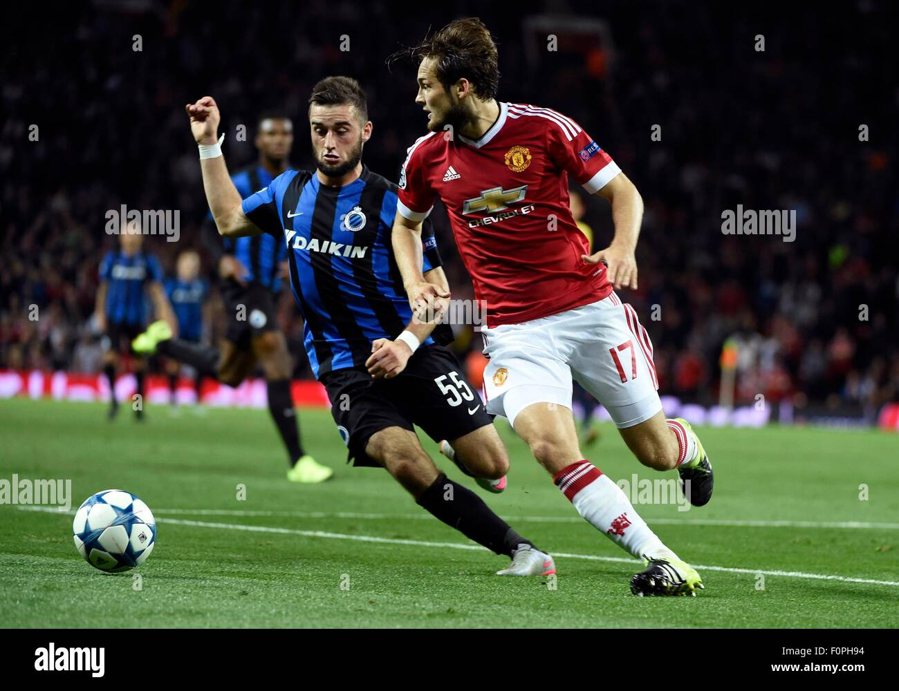 Old Trafford, Manchester, UK. 18th Aug, 2015. UEFA CHampions League match between Manchester United and FC Brugge, - Stock Image