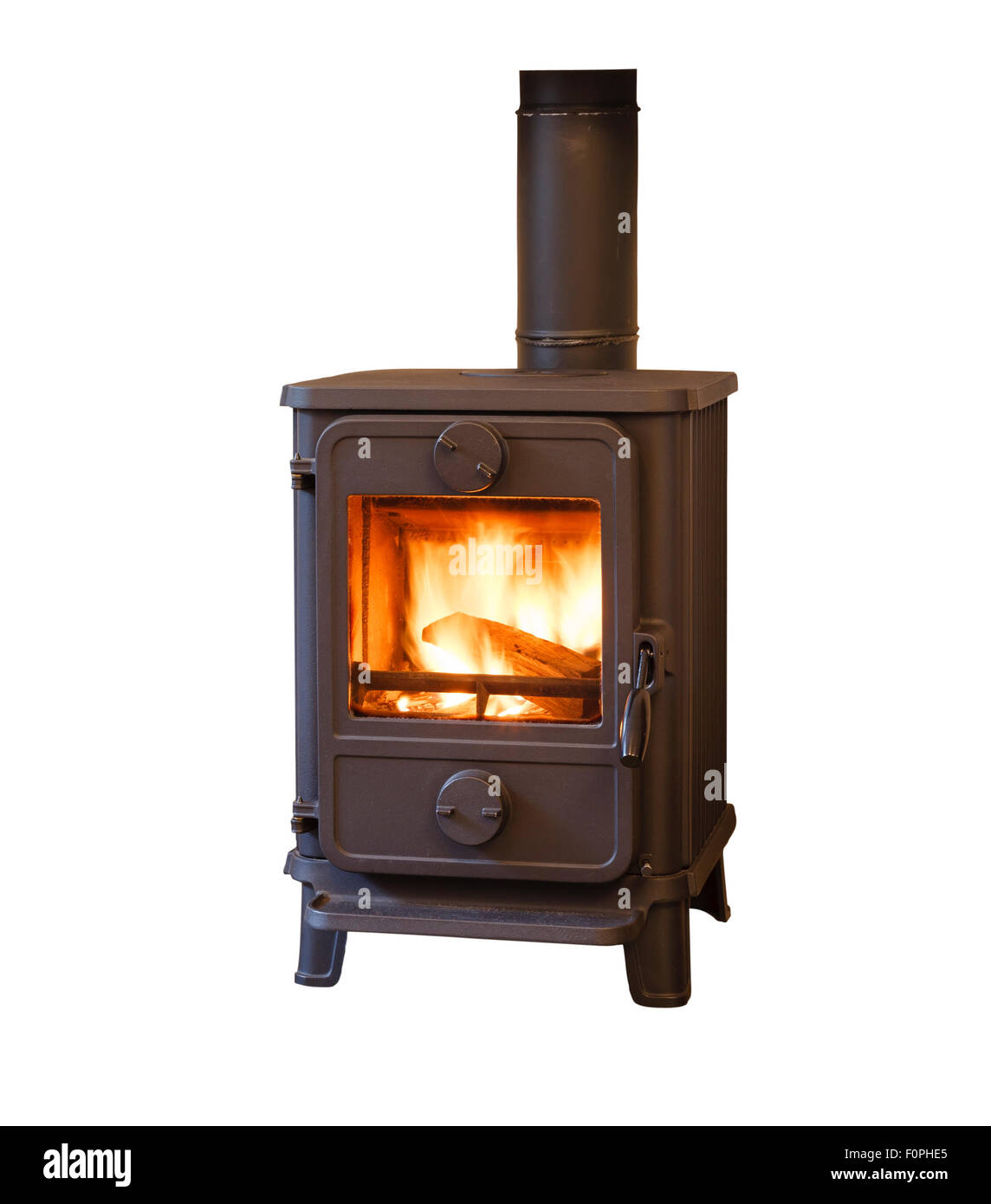 Wood burner stove isolated against a white background - Stock Image