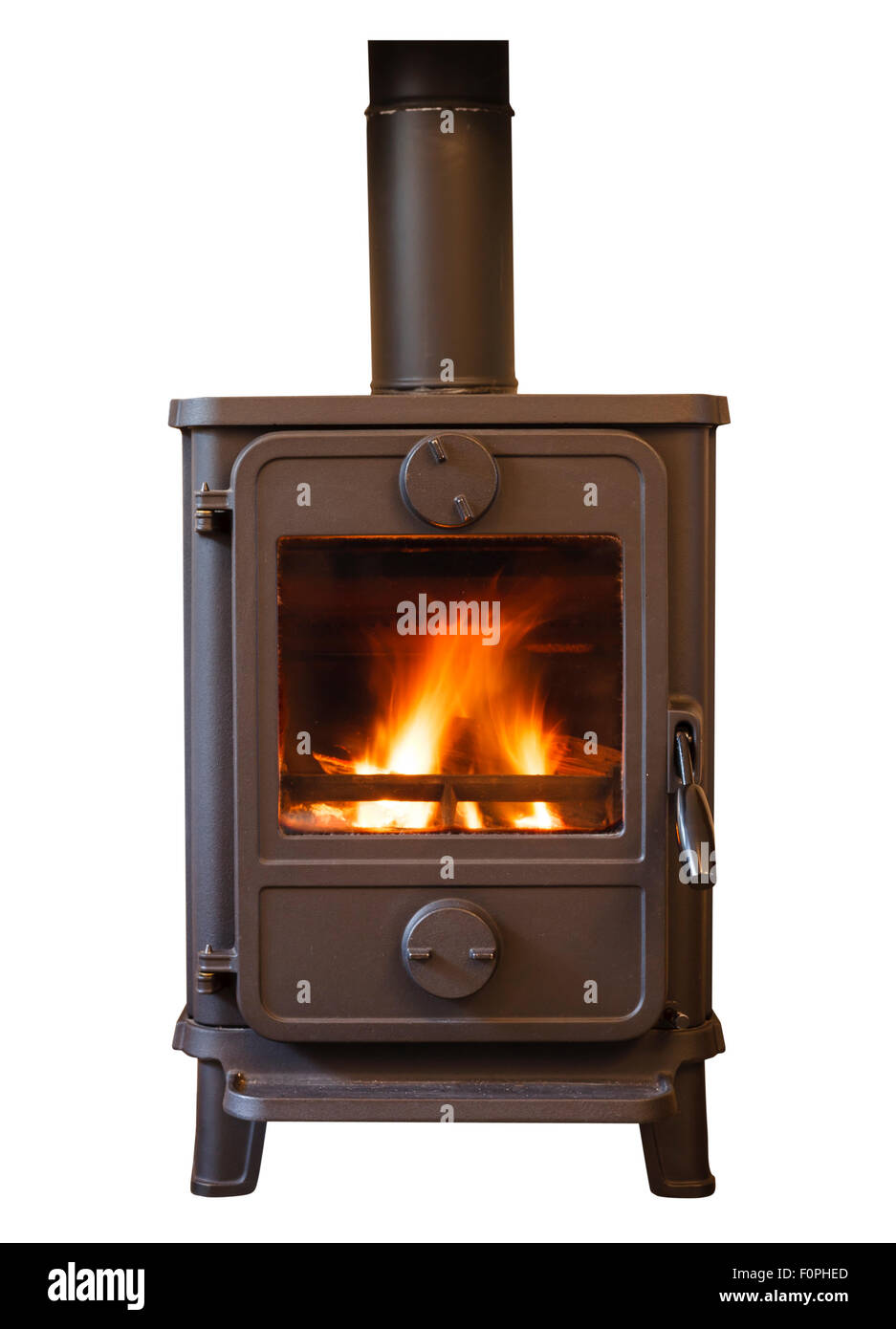 Closeup of a cosy wood burning stove - Stock Image